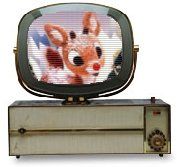 Rudolph on an old TV